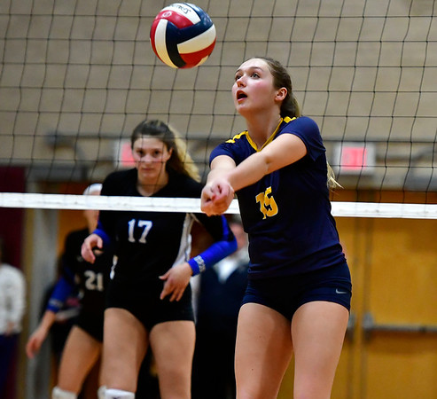 11/14/2018 Mike Orazzi | Staff Woodstock Academy's Samantha Orlowski (15) during the Class L Semifinal State Girls Volleyball Tournament with Woodstock Academy held at Windsor High School Wednesday night.