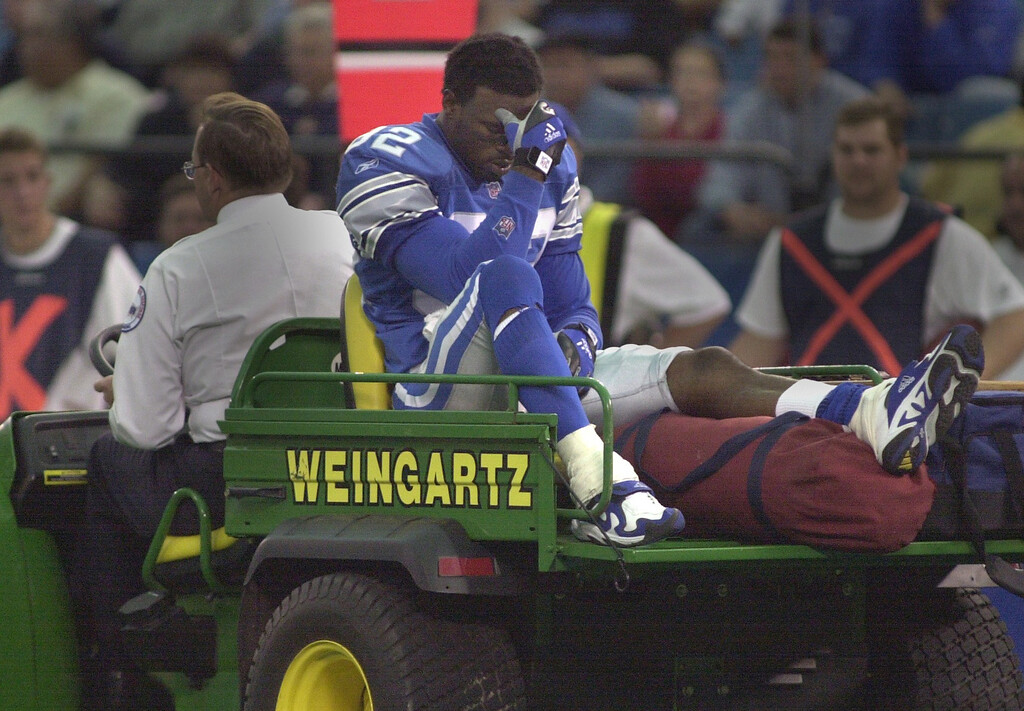 . Detroit Lions WR Germane Crowell is carted off the field with a leg injury in the fourth quarter of their 27-24 loss to the Tennessee Titans Sunday, October 21, 2001 at the Pontiuac Silverdome.