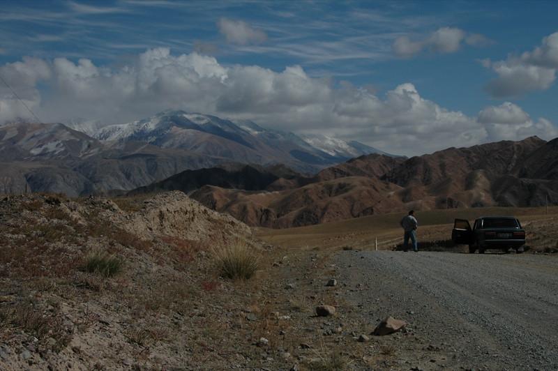 Driving from Song Kul Lake to Kochkor, Kyrgyzstan