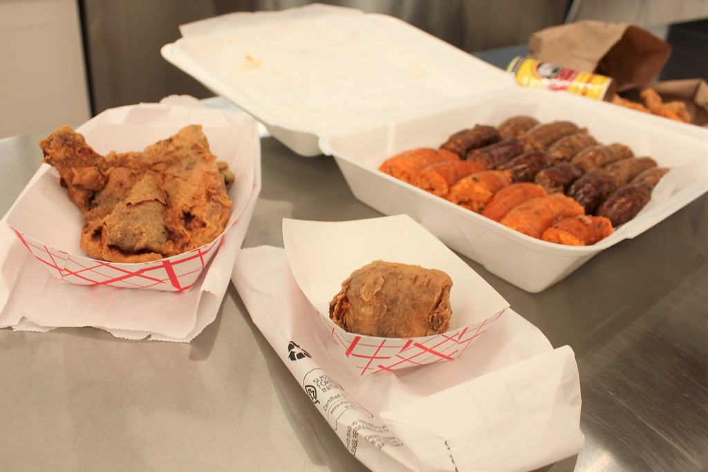 Smoked boudin, boudin balls, and fried chicken