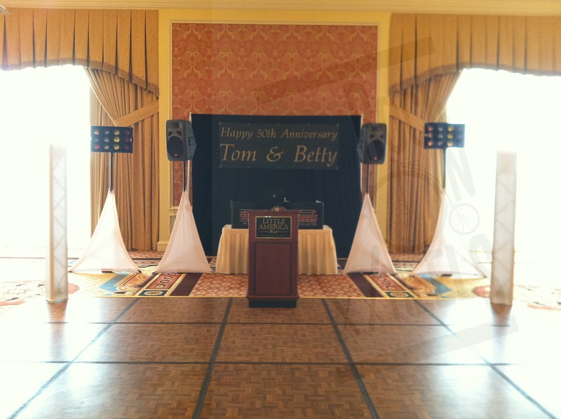 Little America, ballroom A, between the windows. Basic Setup with towers.