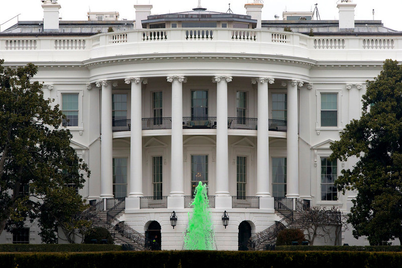 . The fountain on the South Lawn of the White House spouts green water in honor of St. Patrick\'s Day in Washington on Sunday, March 17, 2013. (AP Photo/Jacquelyn Martin)