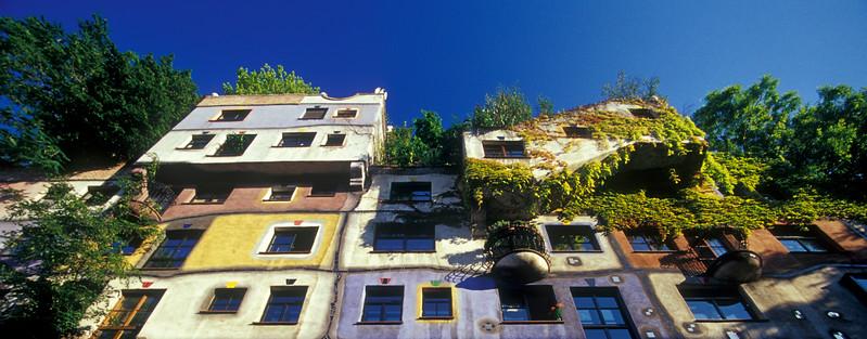 Facade of Colorful Hundertwasserhaus in Vienna, Austria