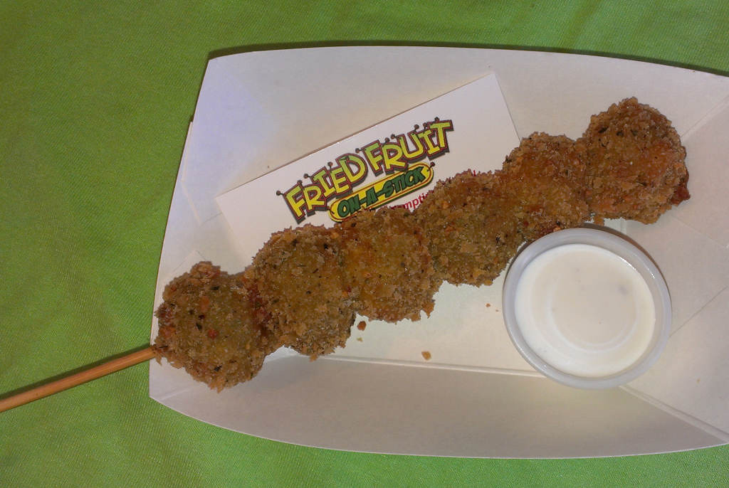 . Deep Fried Olives -- Extra large, pitted green olives dipped in a seasoned batter, deep fried to a golden brown and served with dipping sauce. Available at Fried Fruit, located in Carousel Park, east of the Grandstand Ramp. Photo courtesy of the Minnesota State Fair.