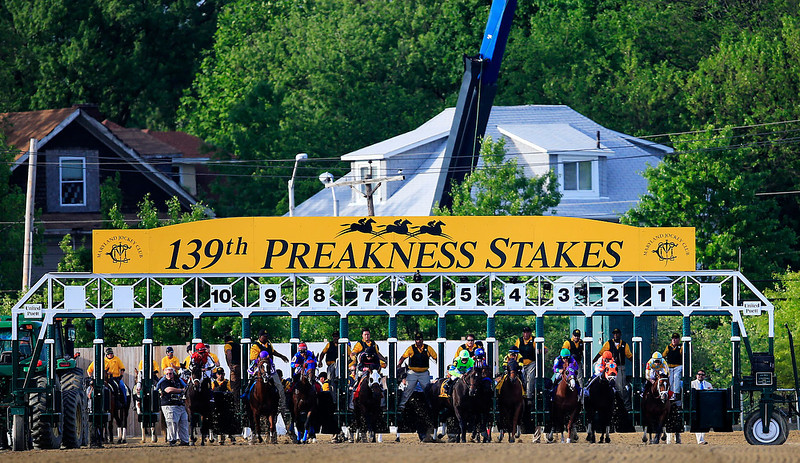 . The field breaks from the gate during the 139th running of the Preakness Stakes at Pimlico Race Course on May 17, 2014 in Baltimore, Maryland.  (Photo by Rob Carr/Getty Images)