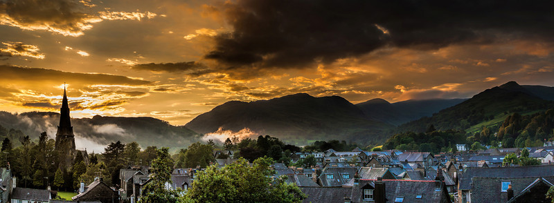 Night view with the mist rolling in over Ambleside, Cumbria, Lake District.