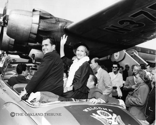 . San Mateo County, CA July 30, 1952 - Senator Richard and Mrs. Pat Nixon arrive at San Francisco Airport. (Chris Kjobech / Oakland Tribune Staff Archives)