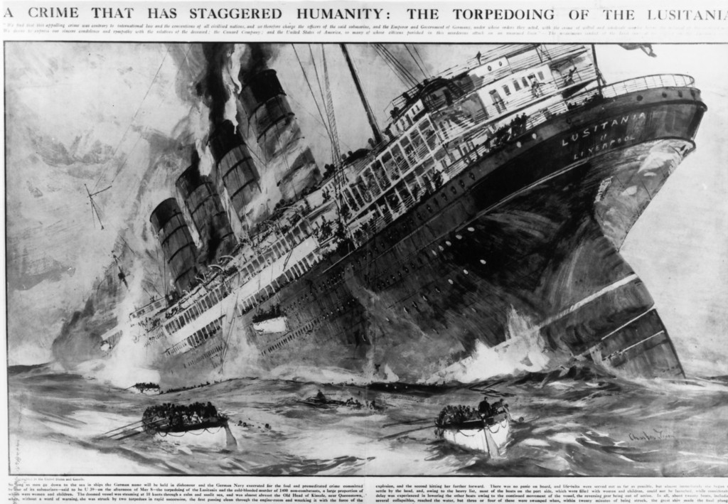 . May 7th 1915:  The British passenger liner \'Lusitania\' sinking off the southern coast of Ireland after a German torpedo attack, with the loss of 1,198 lives on the 7th May. The drawing uses material supplied by survivors. Original Publication: The Graphic - A Crime That Has Staggered Humanity: The Torpedoing Of The Lusitania - pub. 15th March 1915 Original Artwork: Drawn by Charles Dixon  (Photo by Hulton Archive/Getty Images)