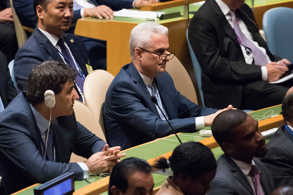 . Members of the Iranian delegation listen as U.S. President Donald Trump speaks during the 72nd session of the United Nations General Assembly at U.N. headquarters, Tuesday, Sept. 19, 2017. (AP Photo/Mary Altaffer)