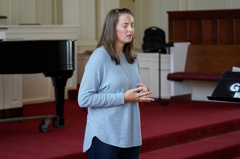 Gardner-Webb faculty and staff meet on Wednesday, September 4 for their monthly Community Prayer Service in the Dover Chapel to pray over hurricane victims.