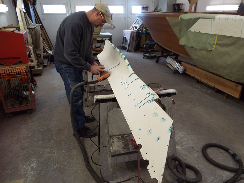 Another view of the starboard fin being repaired.