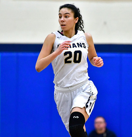 3/1/2019 Mike Orazzi | Staff Newington High School's Olivia St. Remy (20) during the Class LL Second Round of the CIAC 2019 State Girls Basketball Tournament at Newington High School Friday night.