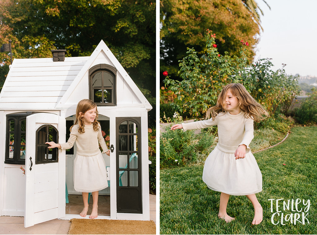Little girl in playhouse, playing in backyard. Lifestyle in-home family photoshoot in Marin, CA by Tenley Clark Photography.
