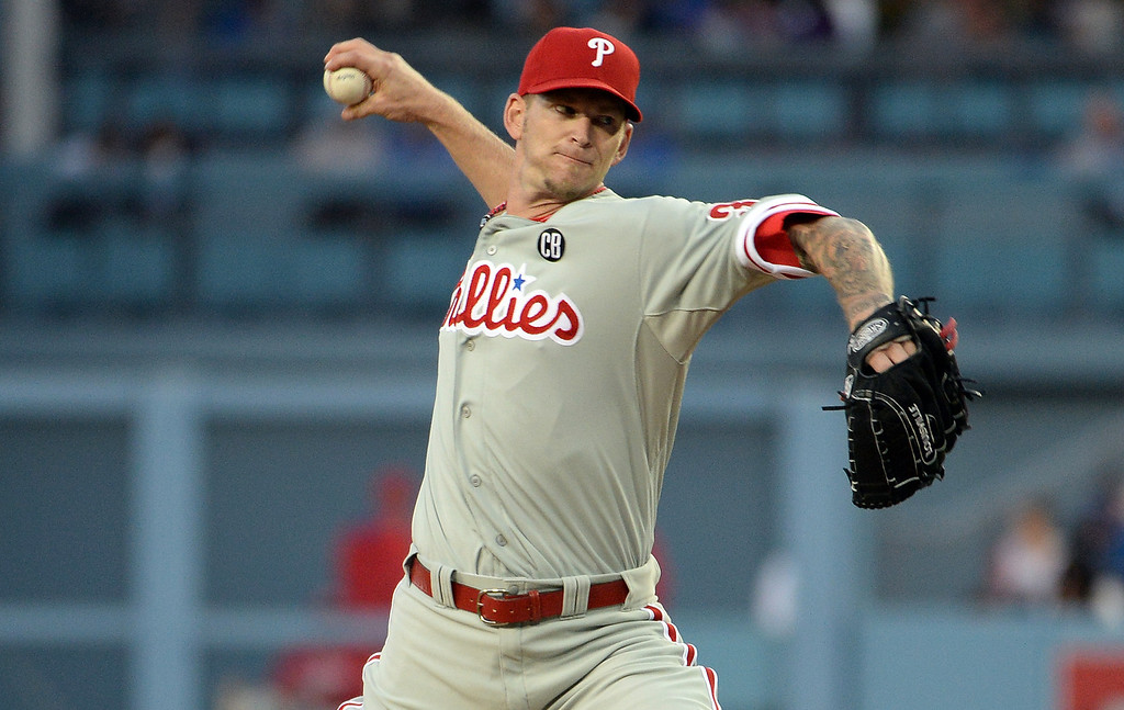 . Philadelphia Phillies starting pitcher A.J. Burnett throws to the plate against the Los Angeles Dodgers in the first inning of a baseball game on Tuesday, April 22, 2013 in Los Angeles.   (Keith Birmingham/Pasadena Star-News)