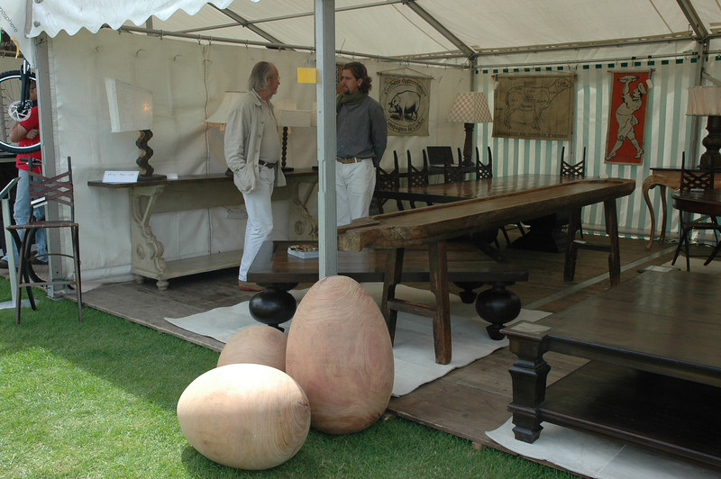Marcel and Julian Maison at  the Artmosphere booth in Cowdray park polo club, south England.