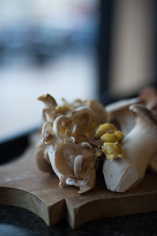 . Oyster mushrooms and king oyster mushrooms. Chef Emma Currie of the Brass Cafe shares her tips for using and preparing mushrooms. (Sun photos by Holly Mahaffey/@hollymahaffey)