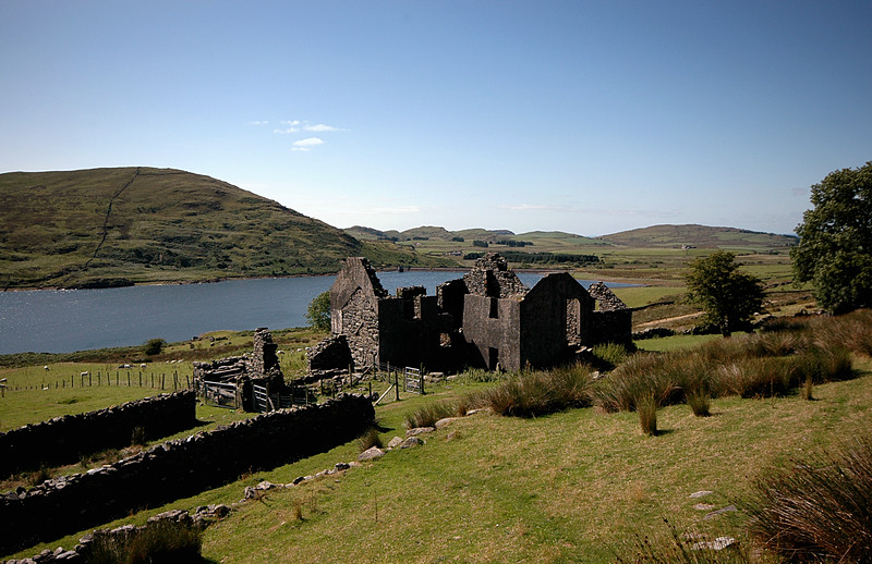 Deserted village of Treforys with Llyn Cwmysrtadllyn beyond.