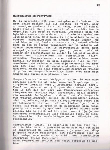 Monstrueuze sempervivums, NRW Nieuwsbrief 29, november 1992