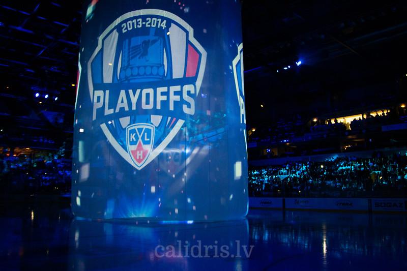 KHL Playoffs logo spēles atklāšanas ceremonijas laikā