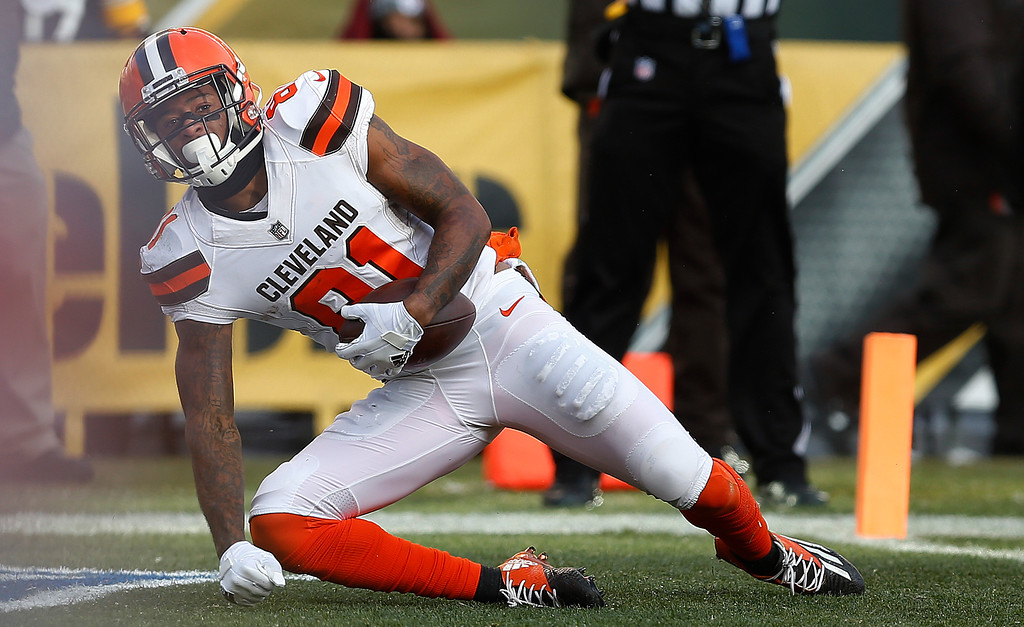. Cleveland Browns wide receiver Rashard Higgins (81) scores during the second half of an NFL football game against the Pittsburgh Steelers in Pittsburgh, Sunday, Dec. 31, 2017. (AP Photo/Keith Srakocic)