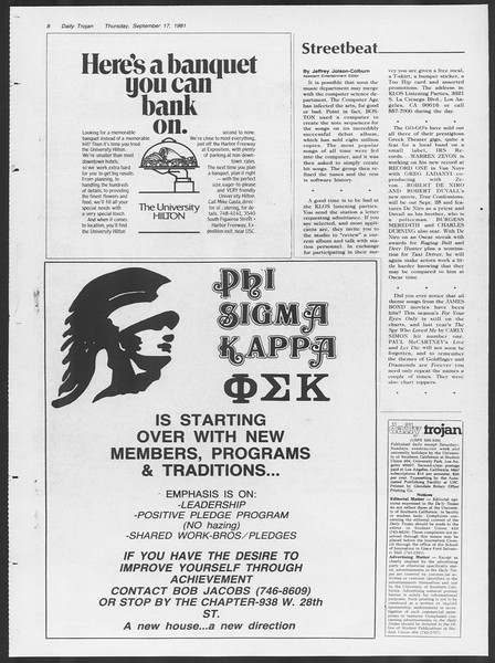 Daily Trojan, Vol. 91, No. 12, September 17, 1981