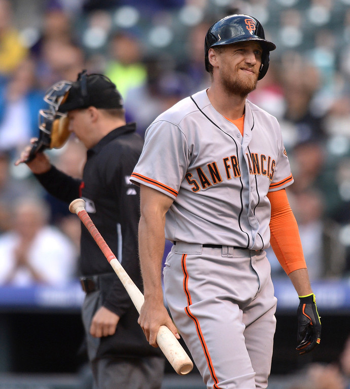 . Giants batter Hunter Pence reacted after he struck out in the first inning. The Colorado Rockies hosted the San Francisco Giants Wednesday night, May 21, 2014.  (Photo by Karl Gehring/The Denver Post)
