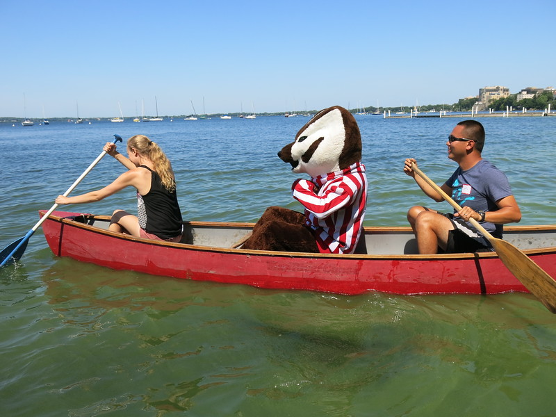 Samantha Schiereck, Bucky Badger and Daniel Haryanto