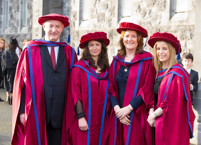 06/01/2015. FREE TO USE IMAGE. WIT (Waterford Institute of Technology) Conferring, Pictured are Brother Ben Hanlon, De La Salle, Waterford, Angela Horgan-Goff, Waterford, Claire O'Gorman, Cahir, Co. Tipperary and Annette Cullen-Murphy, Kilmeaden, Waterford who were conferred a Doctor of Philosophy. Picture: Patrick Browne