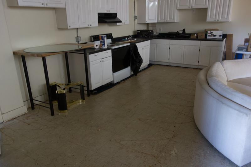 Removed carpet to find tile