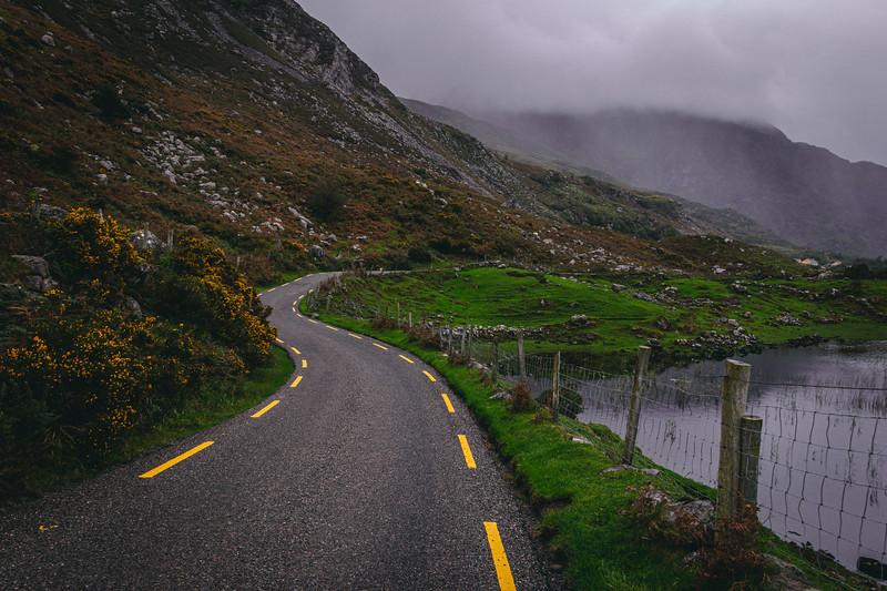 Winding Road Through the Gap of Dunloe in County Kerry Ireland