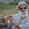 Flautist in Monterey Square, Savannah, GA