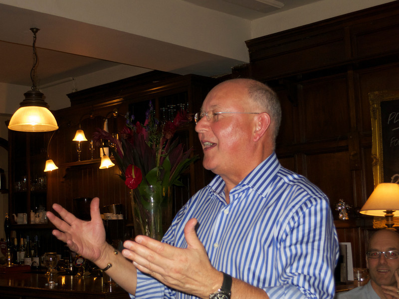 Ullathorne 72-74 reunion 12 Jul 12. Bill tells us his life story, uncharacteristically concise . . .