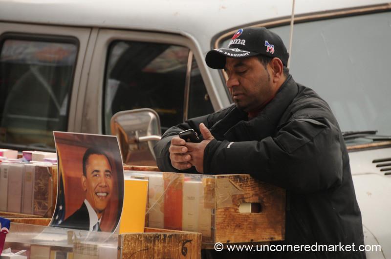 Perfume Vendor with Obama Picture - Washington DC, USA