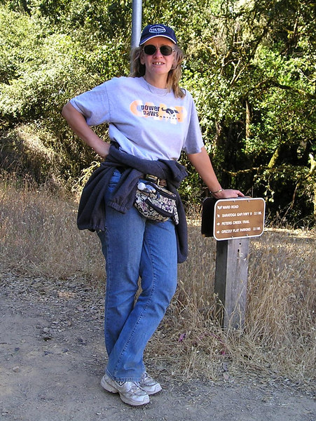 Me keeping the trail sign from exploding upward out of the earth.