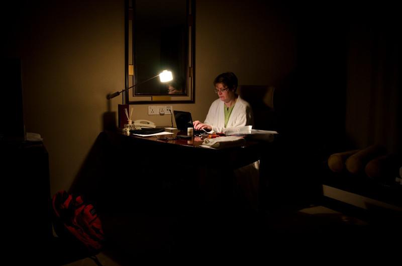 Darla blogging into the night