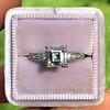 1.19ct Art Deco Carre Cut Diamond Solitaire 14