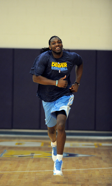 . Kenneth Faried (35) of the Denver Nuggets sprints up the court during practice April 22, 2013 at Pepsi Center.  (Photo By John Leyba/The Denver Post)