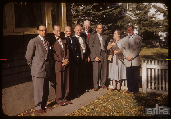Historic Sites sub-committee in front of home of Chairman Professor Simpson.  Saskatoon.  10/08/1953
