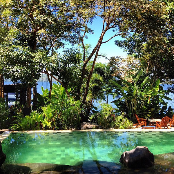 A view from my morning coffee: a swimming hole amidst the jicaro trees @jicaroeco, Lake #Nicaragua