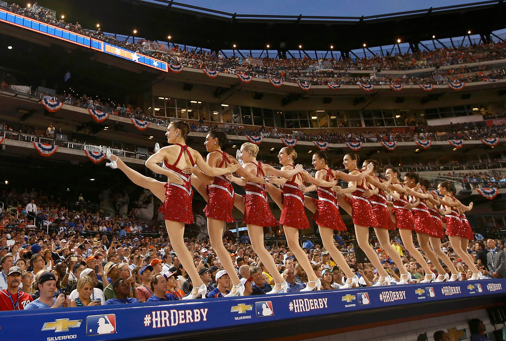 . Cheerleaders perform during the Major League Baseball All-Star Game Home Run Derby in New York, July 15, 2013. REUTERS/Mike Segar