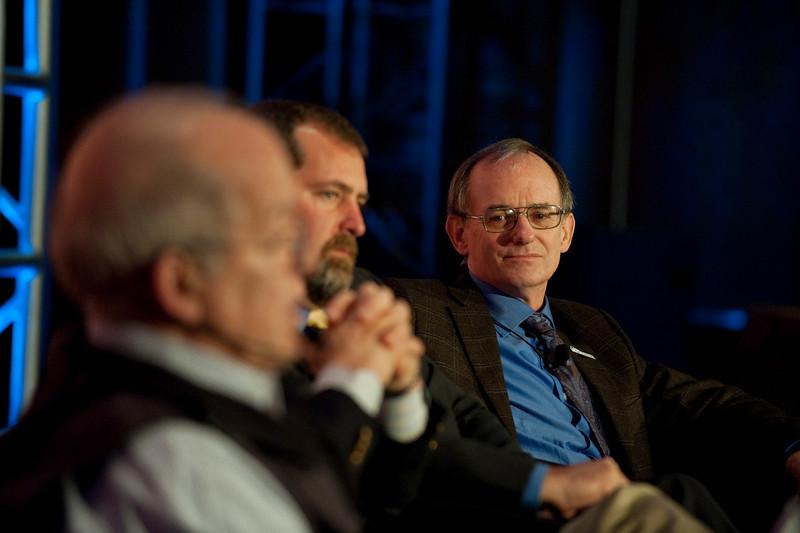 """Ocean Pollution, New Data"": (L-R) Roger Payne, Founder and President, Ocean Alliance; Sen. Kevin Ranker, 40th Legislative District, Washington State Senate; and Jeffrey Short, Pacific Science Director, Oceana"