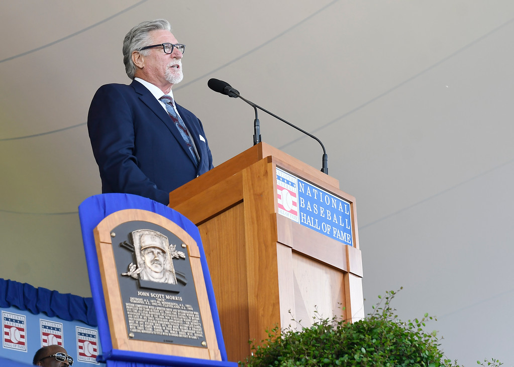 . National Baseball Hall of Fame inductee Jack Morris speaks during an induction ceremony at the Clark Sports Center on Sunday, July 29, 2018, in Cooperstown, N.Y. (AP Photo/Hans Pennink)