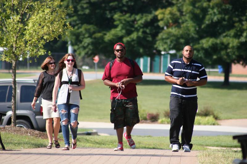 Gardner-Webb University students walking across campus on a September morning.