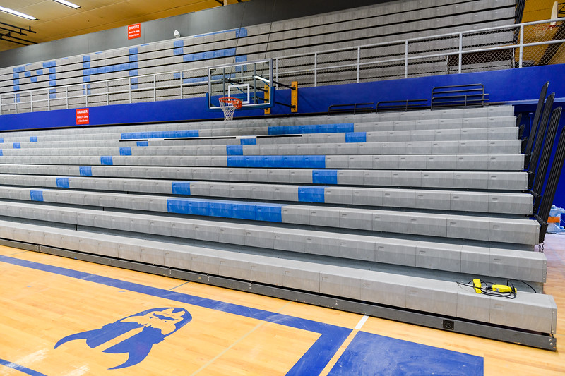 New bleachers in the McNary High School gymnasium on Friday, August 16, 2019, in Keizer, Ore.