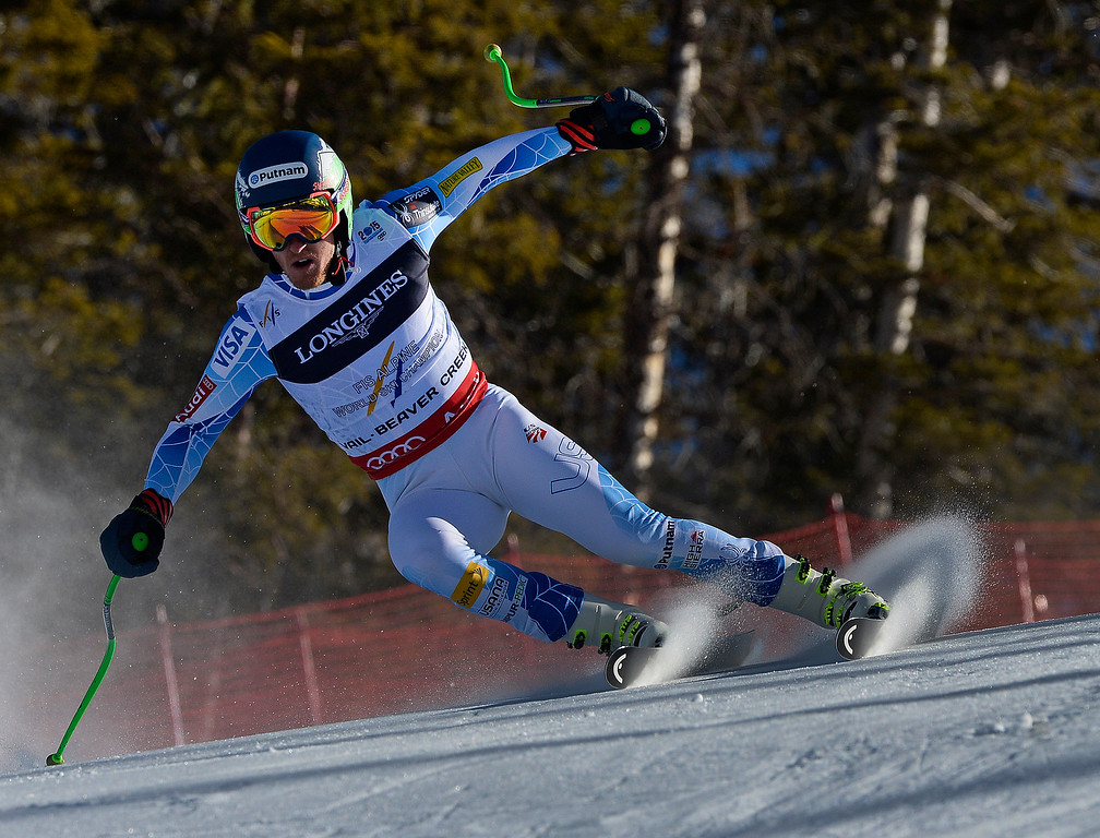 . BEAVER CREEK, CO - FEBRUARY 8: Ted Ligety, of the United States, runs the course at the Men\'s downhill portion of the Men\'s alpine combined race at the FIS Alpine World Ski Championships in Beaver, CO. February 8, 2015. Legity came in 3rd in the Men\'s alpine combined race. (Photo By Helen H. Richardson/The Denver Post)