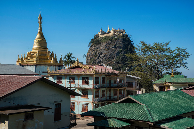 Mount Popa is a volcano 1518 metres (4981 feet) above sea level, and located in central Myanmar (formerly Burma) in the region of Mandalay about 50 km (31 mi) southeast of Bagan (Pagan) in the Pegu Range. It can be seen from the Ayeyarwady (Irrawaddy) River as far away as 60 km (37 mi) in clear weather. Mount Popa is perhaps best known as a pilgrimage site, with numerous Nat temples and relic sites atop the mountain.