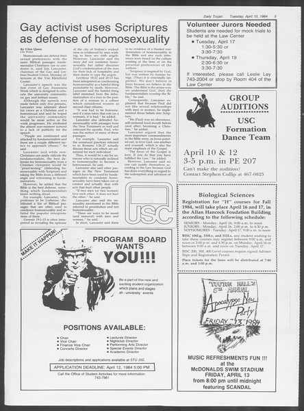 Daily Trojan, Vol. 95, No. 58, April 10, 1984
