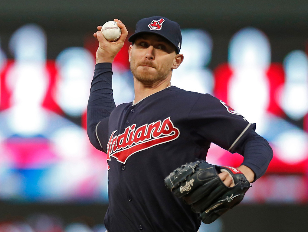 . Cleveland Indians pitcher Josh Tomlin throws to the Minnesota Twins during the first inning of a baseball game Tuesday, April 18, 2017, in Minneapolis. (AP Photo/Jim Mone)