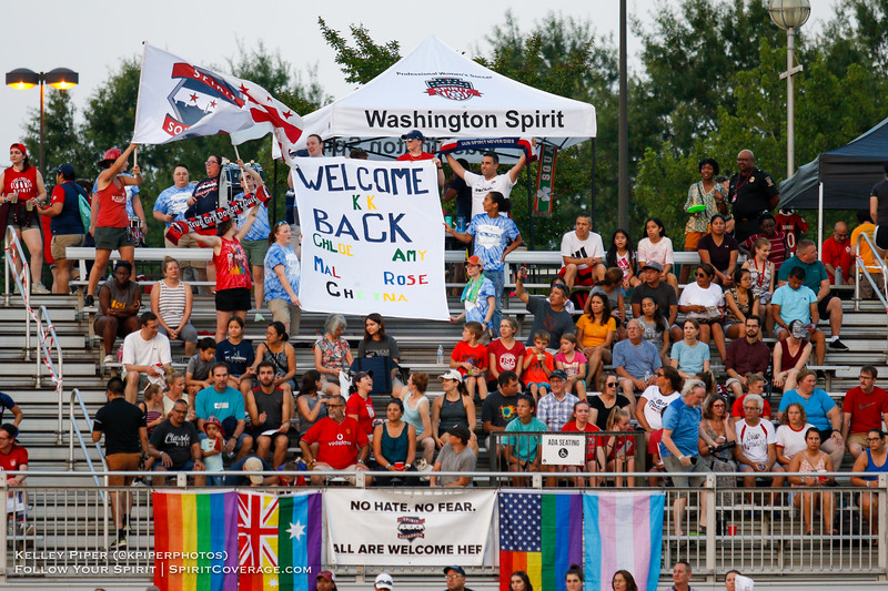 The Spirit Squadron shows off their Welcome Back tiff at Maureen Hendricks Field in Boyds, MD, on July 20, 2019.