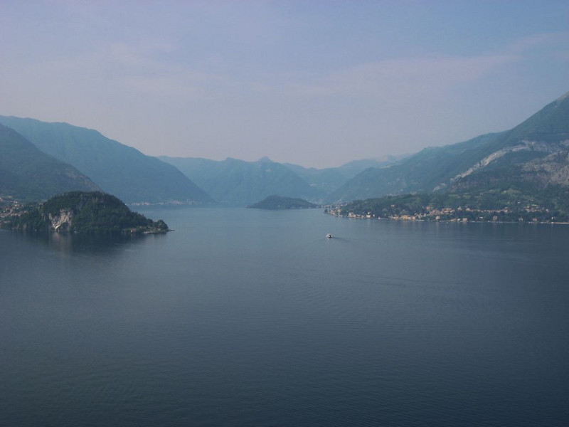 Looking down the lake towards Como. The town of Bellagio is located on the left